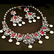 18.85cts Rose Antique Cut Diamond Ruby Pearl Silver Vintage Necklace Set Jewelry