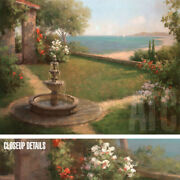 40wx30h Seaside Garden By Haibin - Water Fountain Ocean - Choices Of Canvas