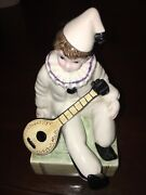 Collectible Schmid Ceramic Clown Musician Music Box Be A Clown Euc