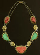 Early 20th Century Chinese Fligree Necklace W/ Carved Coral And Turquoise