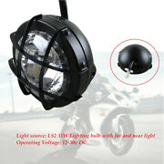 Full Metal Casing 12-30v Led Motorcycle Bike Grille Racer 35w 6.9and039and039 Headlight