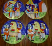5 The Cellar Handpainted Pottery Dinner Plates Market Place Italy 1995