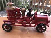Antique Toys Cast Iron Fire Pump Truck Toy With Driver