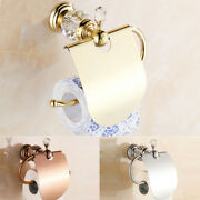 Brass Crystal Toilet Paper Roll Holder Bathroom Storage Cover Wall Mount Hanger