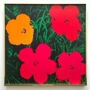 Andy Warhol Rare 1993 Litho Print Framed Iconic Pop Art Poster Flowers 1964