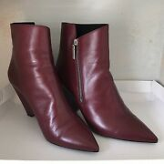 Saint Laurent Niki Leather Point Toe Booties Size 41 Burgundy Color - Sold Out