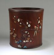 Chinese Hardwood Brushpot With Mother-of-pearl Inlay