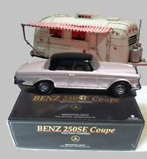 Tin Friction Toy Car Mercedes 250-se With Airstream Camper Trailer... Rare Pearl