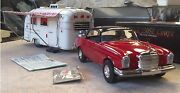 Vintage Tin Friction Car Mercedes Benz 250-se With Airstream Camper Trailer