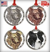 Creative Pewter Designs Border Collie Dog Christmas Tree Ornament D030or