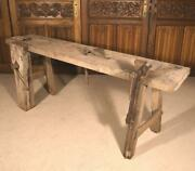 Antique French Workbench In Solid Oak Use As Sideboard Buffet Console Table