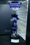 Xxl French Cut Crystal Cobalt Blue Vase Blown Glass Coa Signed Numeroted In Case