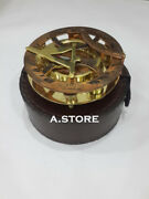 Antiques Nautical Sundial Compass Brass West London With Brown Leather Case