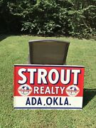 Old Original 1950andrsquos Vintage Sign From Oklahoma. Embossed.
