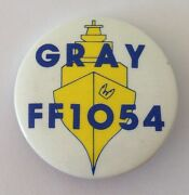 Gray Ff1054 United States Navy Frigate Button Badge Pin Vintage Authentic N15