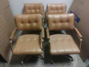 4 Vintage Midcentury Danish Clam Faux Leather Chromcraft Chair Office Cantileve