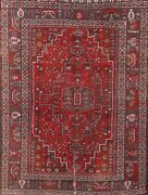 Antique Tribal Wool Red Oriental Hand-knotted Geometric Medallion Area Rug 7x10