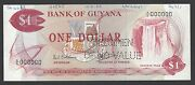 Guyana One Dollar Nd1966-1989 P21as Specimen Perforated About Uncirculated