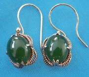 Antique / Vintage 14k 14 Karat Solid Yellow Gold Chinese Jade Earrings Jewelry