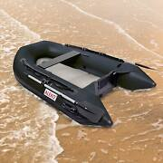 Aleko 8.4 Ft Inflatable Fishing Boat With Air Floor Deck 3 Person Raft Black