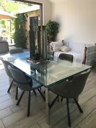 2 Leaf Extendable Glass Table W/chrome Legs Slightly Used From Hold It Store