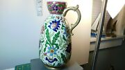 Stunning Raised Floral 10 3/4 Chinese Vase With Character And Letter Markings