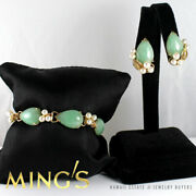 Vintage Mingand039s Hawaii Green Pale Jade And Pearl 14k Yellow Gold Bracelet