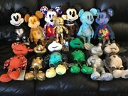 Disney Store 2018 Mickey Memories Complete Plush Set W/ Gold Mini And Card Pack