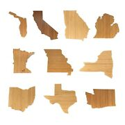 Bamboo State Silhouette Serving And Cutting Board - Various States