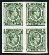 Gibraltar Sg121 Kgvi 1/2d Green Printers Proof Imperf On No Wmk Blue-lined Paper