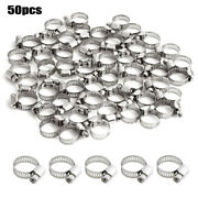 50 1/2-3/4 13-20mm Stainless Steel Drive Hose Clamp Fuel Line Clip Adjustable