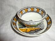 Antique 19th.c Salopian Pearlware Cottage Pattern Cup And Saucer, J1