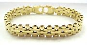 Fabulous Design Real 14k Yellow Gold 10mm Wide Menand039s Bracelet 8 Heavy Italy
