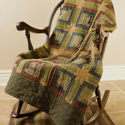 Tea Cabin Cotton Quilted Throw Primitive Patchwork Star Quilted Throw Afghan