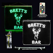 Personalized Deer Head Man Cave Lighted Sign Beer Mug Fishing