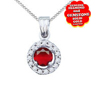 Round Ruby And Natural Diamond Halo Pendant W/18 Chain 14k White Gold