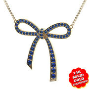 Round Blue Sapphire Bow Pendant W/18 Chain 14k Solid Yellow Gold