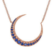 Blue Sapphire And White Simulated Diamond Moon Pendant Solid 14k Rose Gold