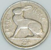 Irish 1948 Thruppence 3d Coin Pence Low Mint Year Ireland Hare And Harp Eire