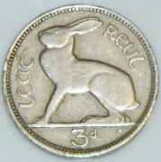 Irish 1942 Thruppence 3d Coin Pence Low Mint Year Ireland Hare And Harp Eire