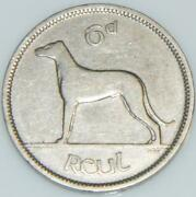 Irish 1948 Sixpence 6d Silver Coin Low Mint Year Ireland Wolfhound And Harp Eire