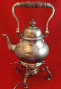English Sterling Silver Kettle On Stand With Mahogony Handle