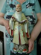 Old China Porcelain Figurine Of Old Man With Scroll 36 Cm