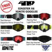 509 Sinister X6 Ignite Goggle Heated Snowmobile Goggles With Case All New Models