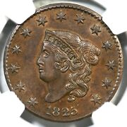 1825 N-2 R-2 Ngc Au 58 Cac Matron Or Coronet Head Large Cent Coin 1c