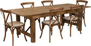 8and039 X 40and039and039 Antique Rustic Folding Farm Table Set W/6 Cross Back Chairs And Cushions