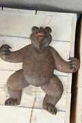 Rare Antique Black Forest Wood Carved Bear Wall Strin Pull Toy