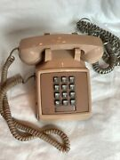 Vintage Rose Beige Pink Push Button Phone Cord Table Working Condition
