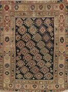 Antique Shirvan Oriental Area Rug Wool Geometric Hand-knotted Navy Carpet 4 X 6