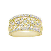 1.00ct April Birthstone Diamond Anniversary Wide Band In 10k Yellow Gold